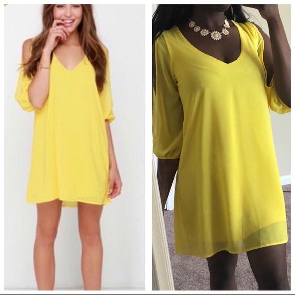 d9a8882419e2f9 Lulu's Dresses & Skirts - Lulus | Yellow Sleeve Slit Shift Dress